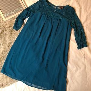《LUXOLOGY》Dark Blue/Green Tunic with Lace Yoke